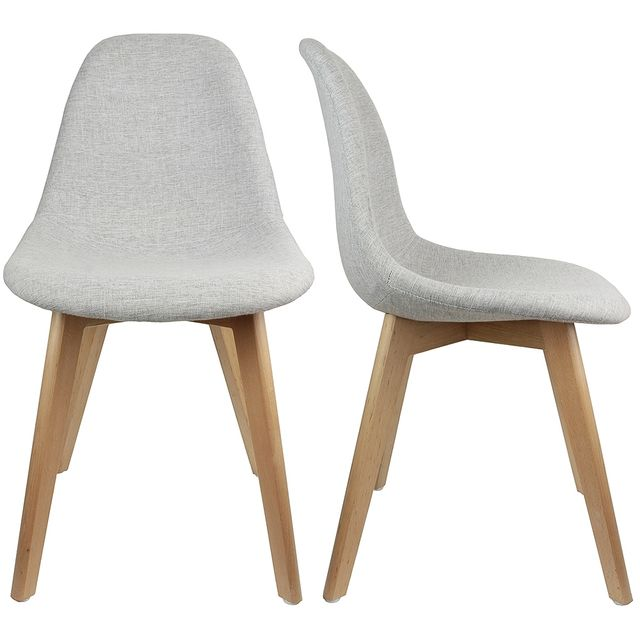 60aec544aa2fbc The Concept Factory - Chaise Stokholm Tissu gris pieds bois lot de 2 ...