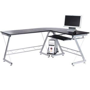 homcom bureau d 39 informatique angle pour ordinateur meuble table de travail plateaux noir avec. Black Bedroom Furniture Sets. Home Design Ideas