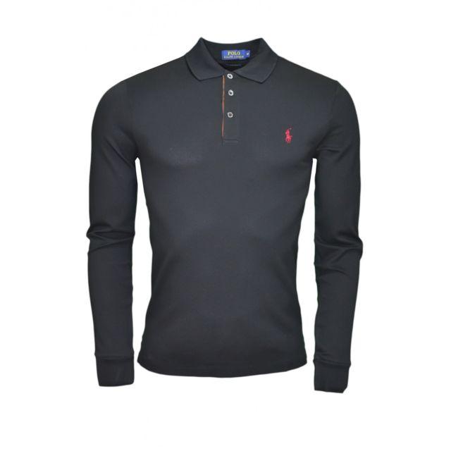 e6bcccb825e Ralph Lauren - Polo manches longues noir pour homme - pas cher Achat   Vente  Polo homme - RueDuCommerce