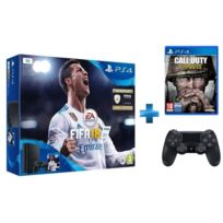 SONY - Pack PS4 SLIM 1To E Noire + FIFA 18 + Call of Duty WWII - PS4 + Dual Shock 4 - V2 - NOIRE