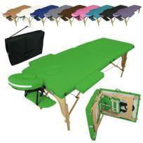 VIVEZEN - Table de massage pliante 2 zones en bois avec panneau Reiki + Accessoires et housse de transport