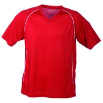 James & Nicholson - T-shirt polyester Adulte col V Maillot Football Jn386 - rouge