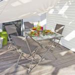 Alinéa - Regal Salon de jardin pliant taupe en acier et ...