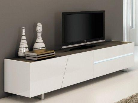 Marque Generique Meuble Tv Isaline Ii avec éclairage - 3 portes & 1 tiroir - Laqué blanc