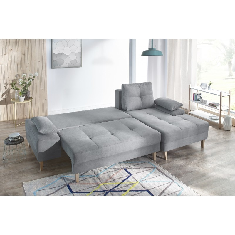 bobochic canap sven ii 4 places convertible angle droit gris clair 153cm x 110cm x. Black Bedroom Furniture Sets. Home Design Ideas