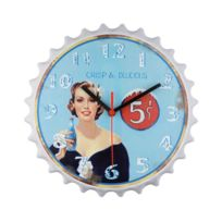 Horloge murale fond bleu
