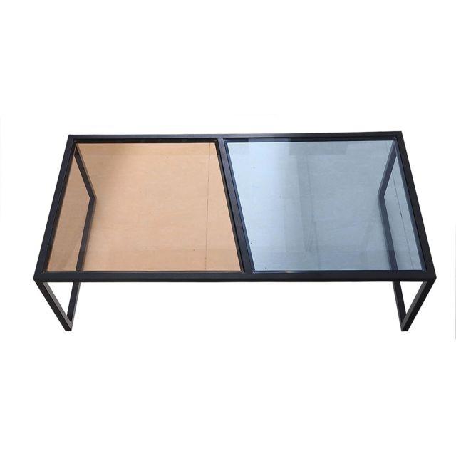 La Maison Du CanapÉ Table basse verre Esprit - Marron / Bleu - Noir