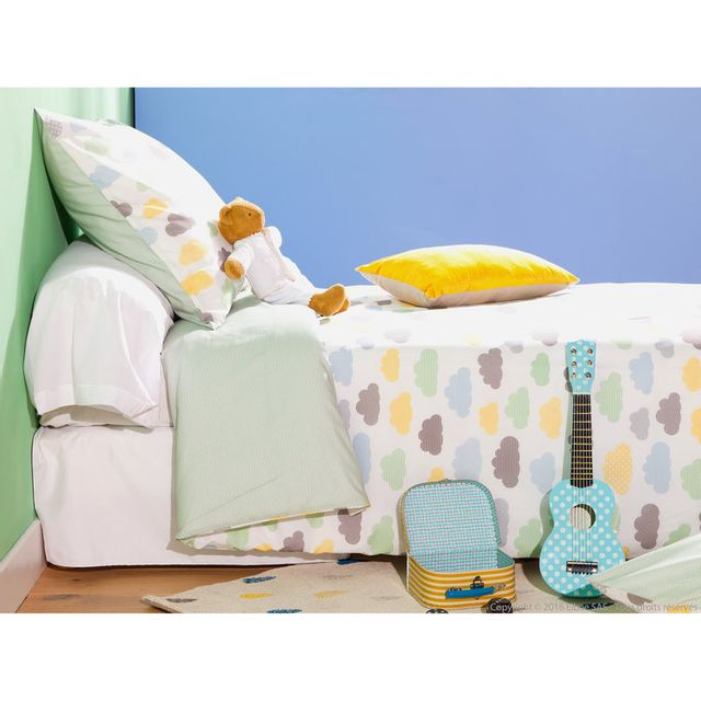 marque generique housse de couette enfant r versible 100 coton nuage zigzag c ladon 140x200cm. Black Bedroom Furniture Sets. Home Design Ideas