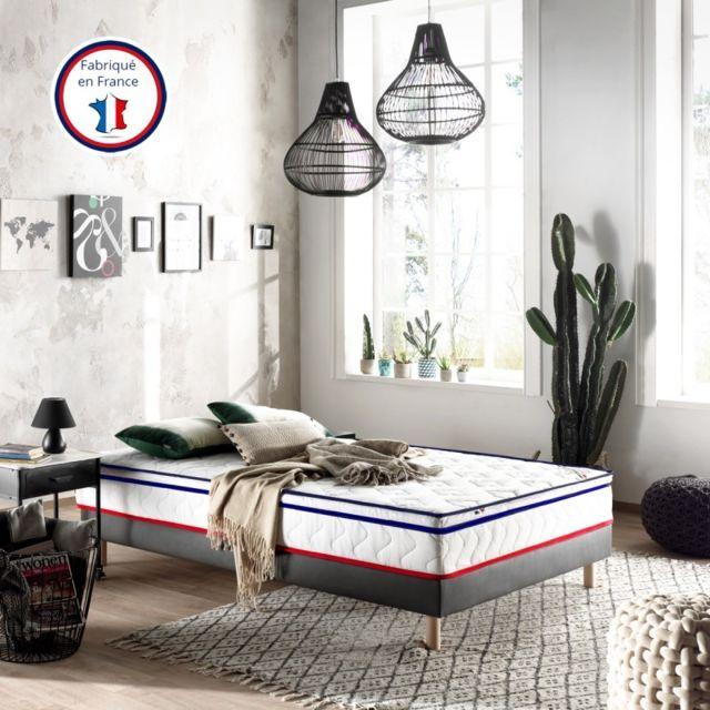 Incroyable Literie Edmond 90x190 | Mousse Soja à Mémoire de Forme 50kg + Mousse certifiée Hr 50 kg | 7 zones | Fabrication France