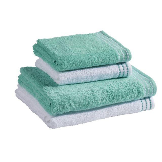 MARQUE GENERIQUE Set 4 éponges : 2 serviettes de toilette + 2 draps de douche Set 4 éponges : 2 serviettes de toilette 50x80 cm + 2 draps de douche 70x120 cm - bleu vert