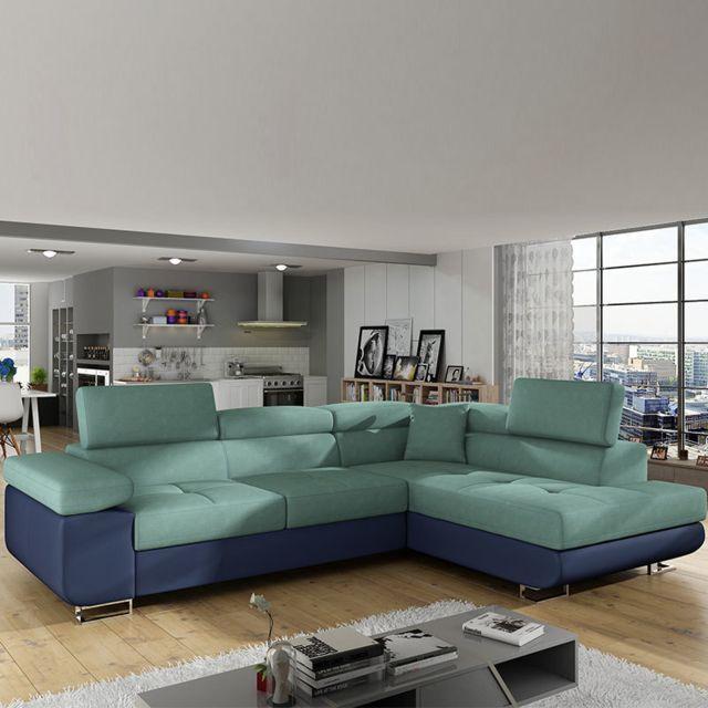MARQUE GENERIQUE Canapé d'angle a droite convertible vert et bleu WILLIS 13