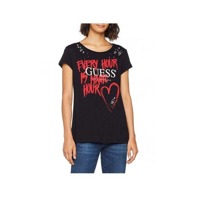 aa74d9f4236 ... Guess - Guess T-shirt slim Femme Magic W83I30 Noir - Taille - Xs ...
