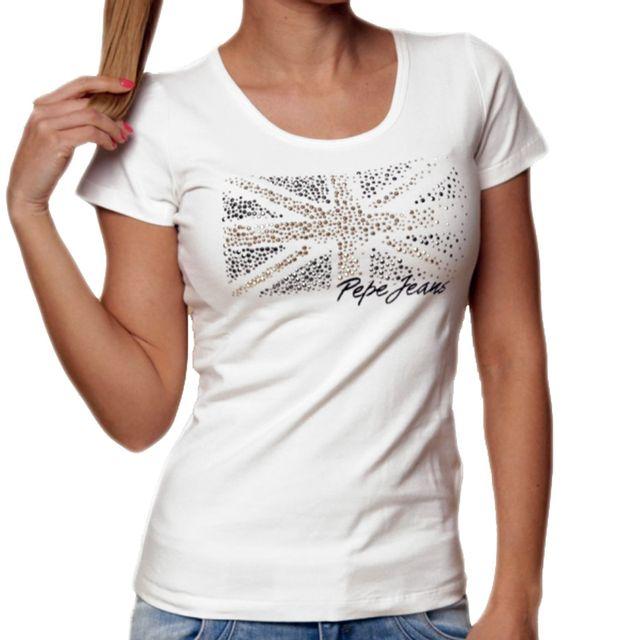 Pepe Jeans - T Shirt Manches Courtes - Femme - Kyle - Blanc - pas cher  Achat   Vente Polo femme - RueDuCommerce 5d5fdb0a8ae9