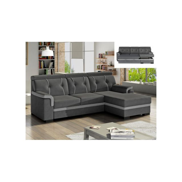 Canapé d'angle convertible en tissu James - Anthracite et bandes gris clair - angle droit