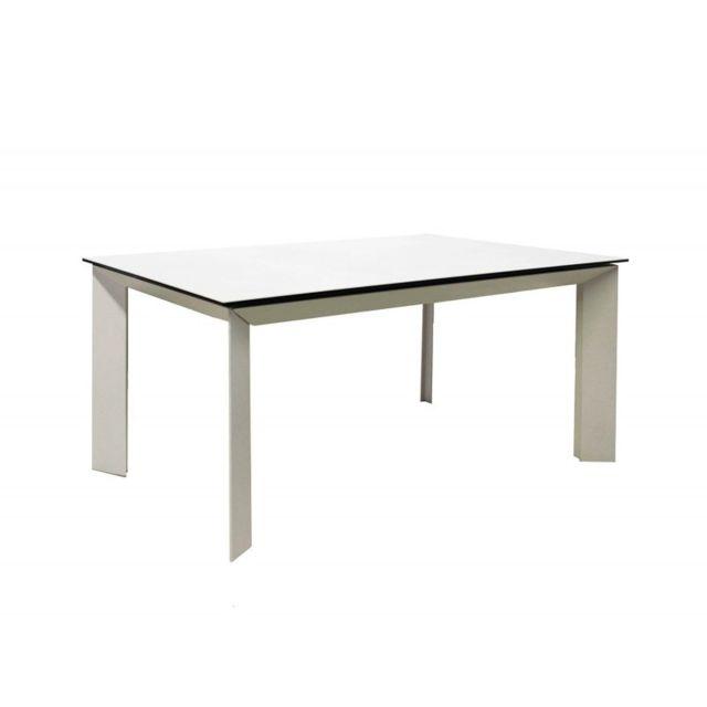 Meubletmoi Table extensible verre et céramique blanc - Venus