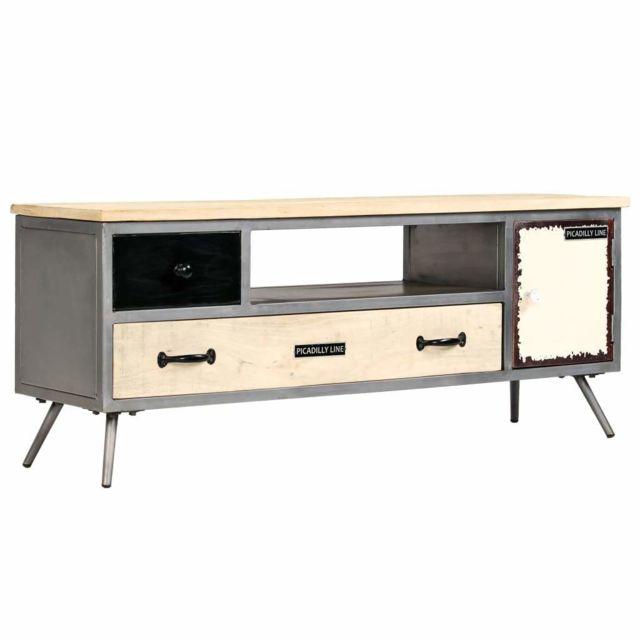 Helloshop26 Meuble télé buffet tv télévision design pratique bois de manguier massif et acier 120 cm 2502149