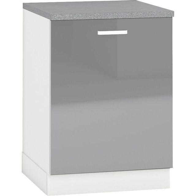 Comforium Meuble bas de cuisine design 60 cm avec 1 porte coloris blanc mat et gris laqué
