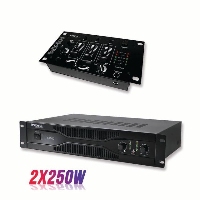 Ibiza Pack sonorisation amplificateur 500W Sa500 + Table de mixage 3 voies 5 entrées Mix800