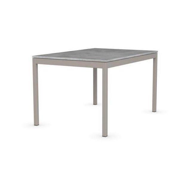 Inside 75 Table extensible Snap gris beton piétement acier laqué grège 130x90 cm