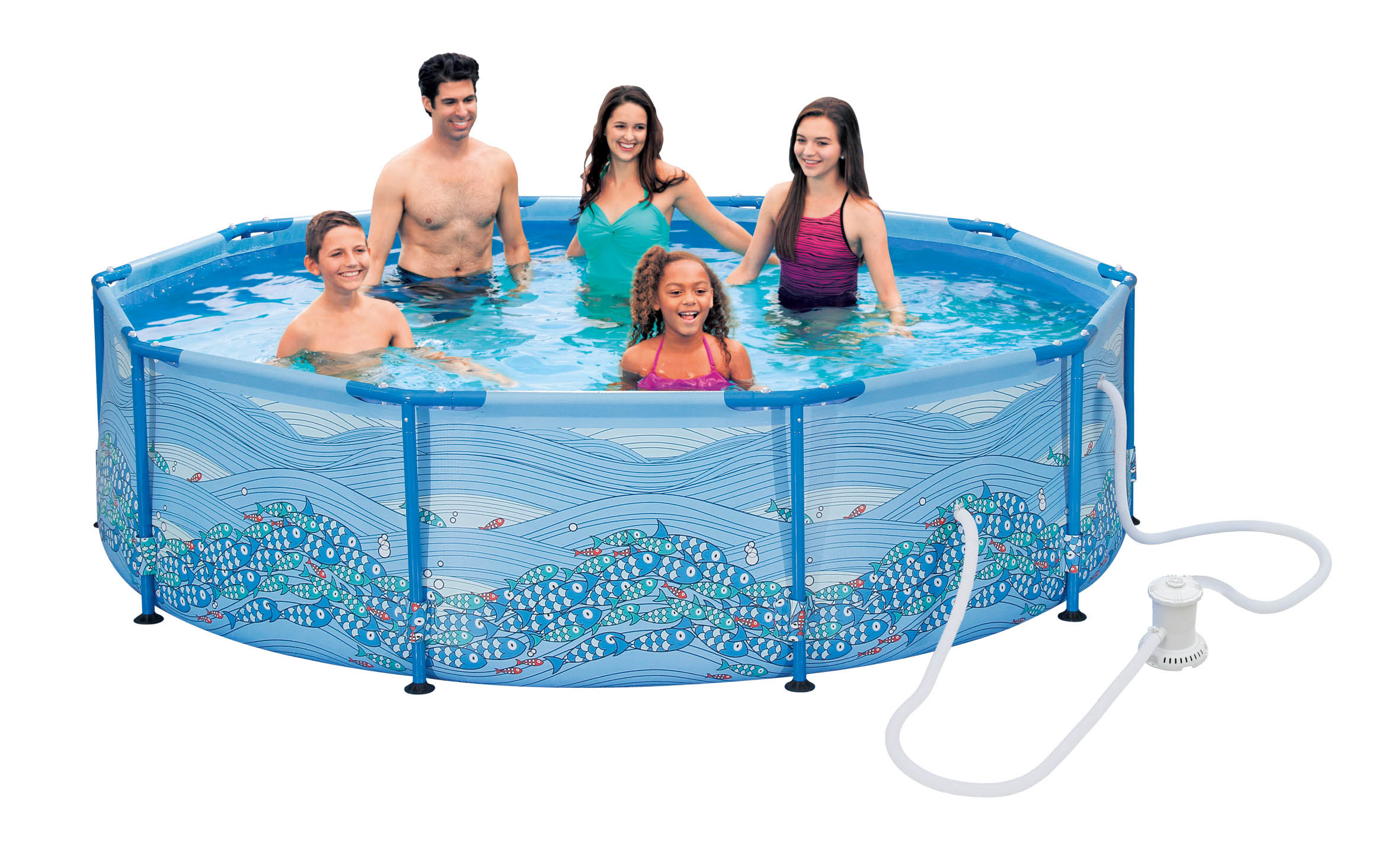carrefour piscine tubulaire ronde motif tourbillon dia 305 x h 76 cm pas cher achat. Black Bedroom Furniture Sets. Home Design Ideas