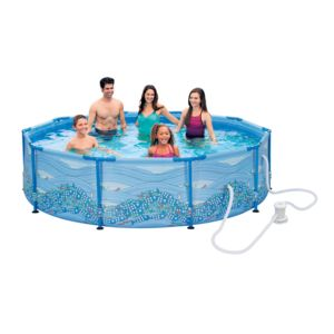 Carrefour kit piscine tubulaire ronde motif tourbillon for Piscine carrefour tubulaire