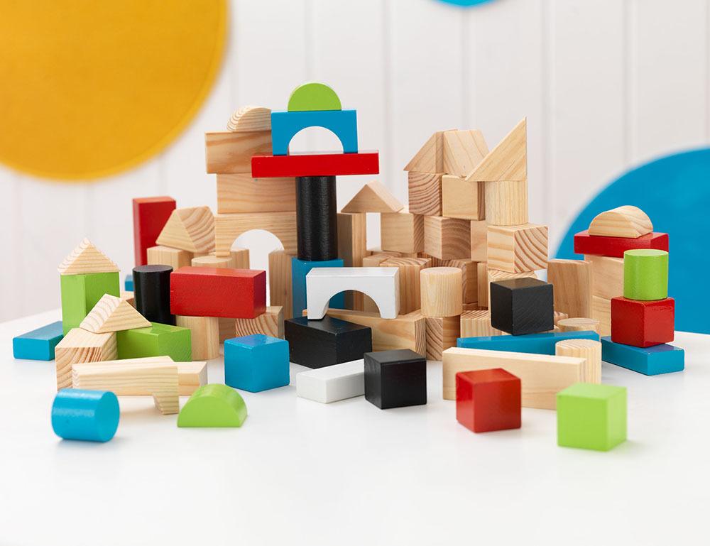 Ensemble 100 blocs de jeu en bois