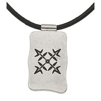 Oxbow - Collier Homme collection logo lien en cuir plaque métal logo four flowers