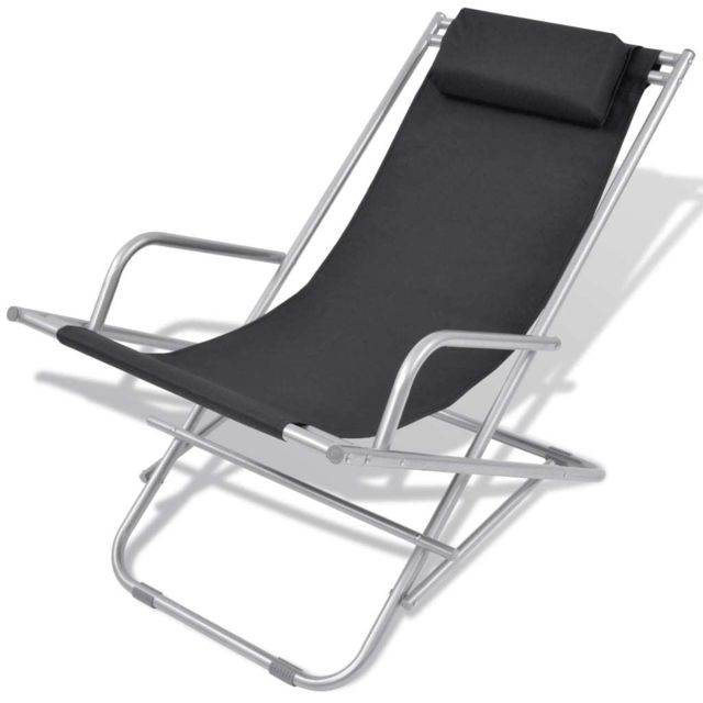 Icaverne - Bains de soleil serie Chaise inclinable de terrasse 2 pcs Noir Acier 69 x 61 x 94 cm