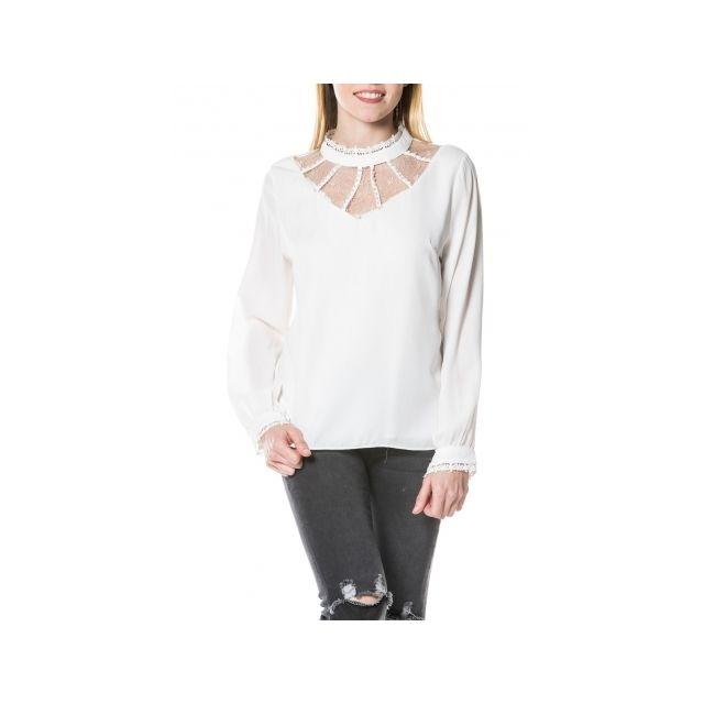 Princesse Boutique - Top Blanc manches longues décolleté en dentelle ... 4a6bfde085f