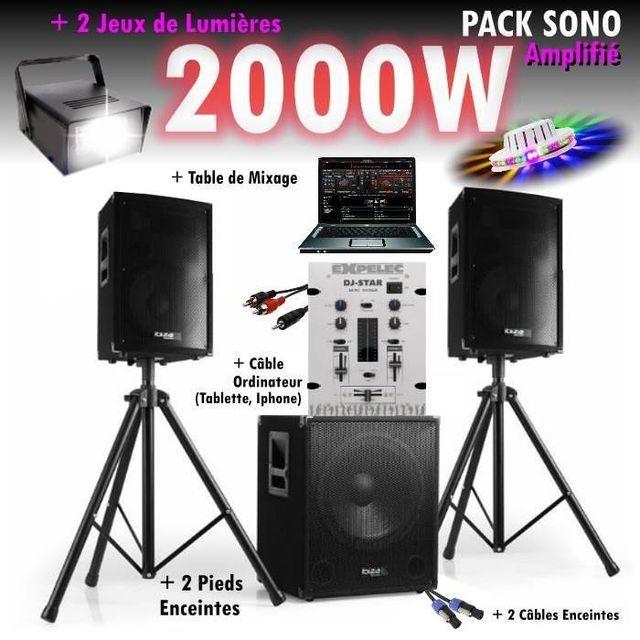 Ibiza Sound Pack sono mixage dj 2000w avec 1 caisson - 2 encentes - pieds - cables - jeux de lumières led pa dj led light sound