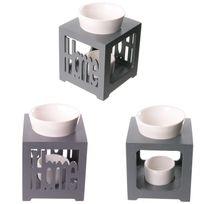 Sans Marque - Brûleur à huile carré en bois et coupelle en céramique - Home gris