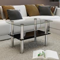 Rocambolesk - Superbe Table Basse en Verre 2 Plateaux Neuf