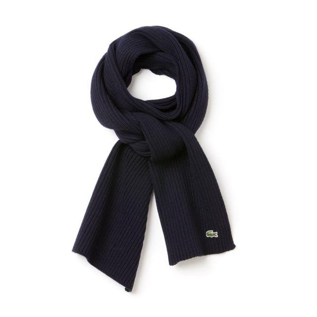 c35d2568d124 Lacoste - Echarpe foulard en laine bleu marine Re411200 - pas cher Achat    Vente Echarpes - RueDuCommerce