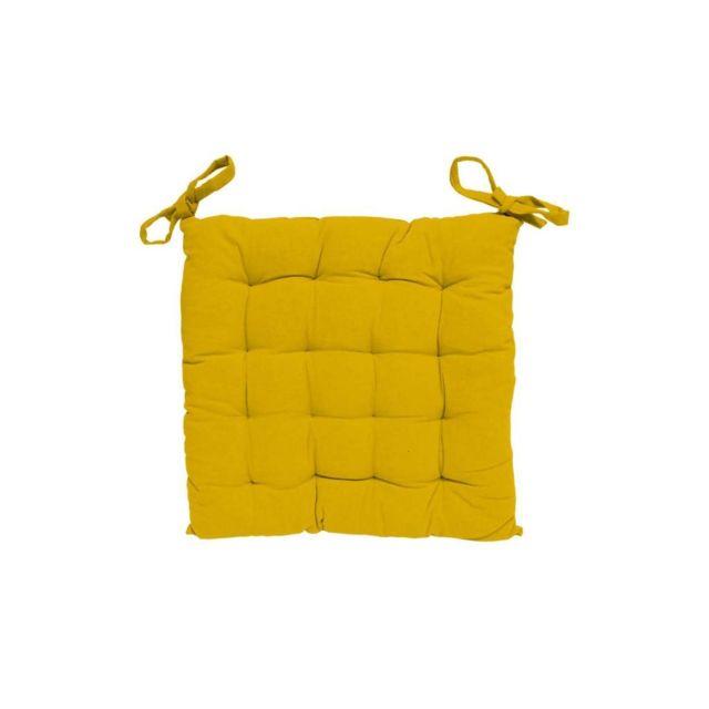 Soleil D'OCRE - Dessus de chaise capitonné 40x40 cm Alix jaune 30cm x 40cm