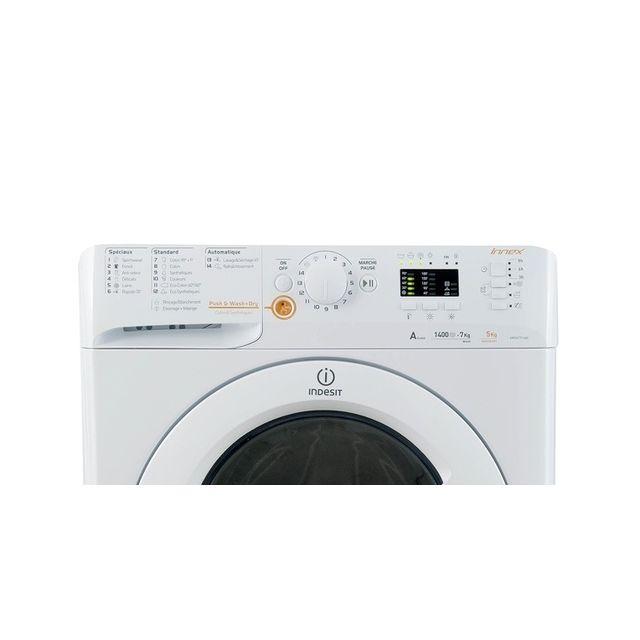 Indesit Lave-linge séchant - XWDA 751480X W FR.1 - Blanc Capacité lavage : 7 Kg - Capacité rincage : 5 Kg - 1400 trs/min - Niveau sonore lavage : 54 dB(A) - Niveau sonore essorage : 84 dB(A) - Départ différé - Affichage