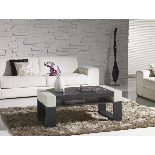 Kasalinea Table basse relevable couleur cèdre et blanc laqué contemporaine Emilia