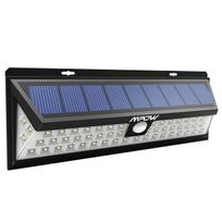 Alpexe - 54 Led, Lampe solaire extérieure étanche Ip65 1188 lumens Luminaire exterieur/ Spot exterieur 120 ° Grand Angle reglable avec détecteur de mouvement et Paneau Solaire pour Pati, jardin, cour, chemin,escaliers, clôture