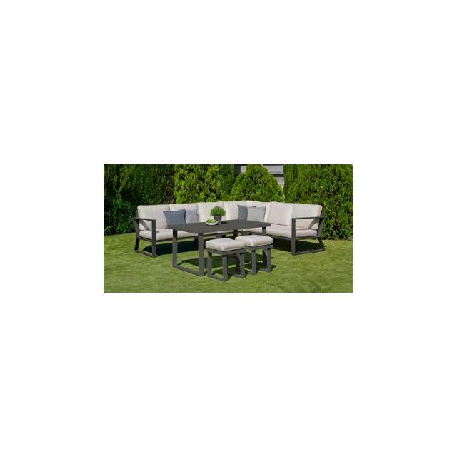 Hevea Ensemble Salon Sofa De Jardin A Manger Bolon 30 en Aluminium Anthracite Coussins couleur Mariland Gris Clair Hev31867