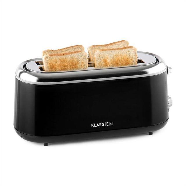 KLARSTEIN Elox Grille-pain rétro à fentes longues 1300 W 7 degrés de cuisson noir