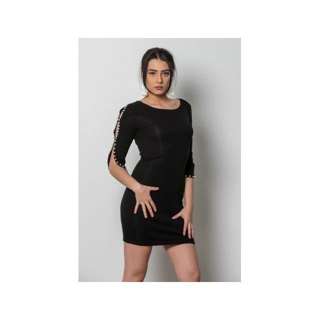 Princesse Boutique Robe Noir Manches Ouvertes A Perles Pas Cher Achat Vente Robes Rueducommerce