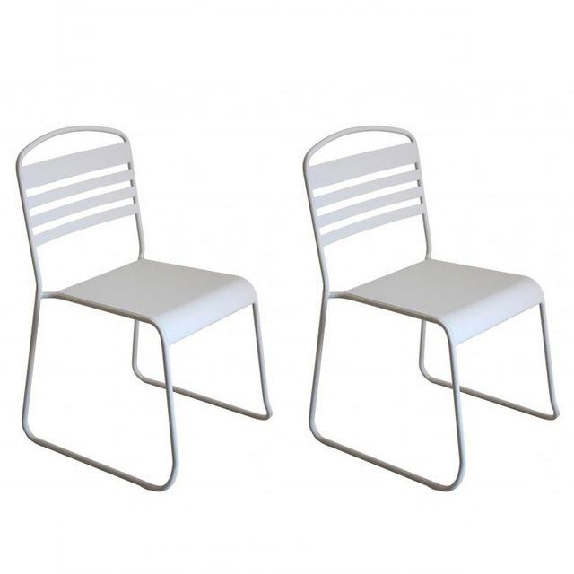 """Paris Prix - Lot de 2 Chaises Design """"Nils"""" Blanc"""
