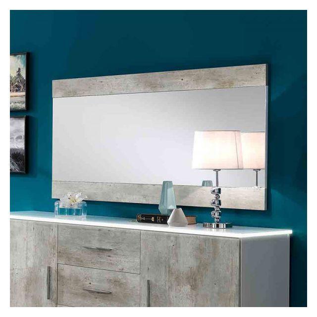 Dansmamaison Miroir rectangulaire Blanc/Béton - Raima - L 150 x l 2 x H 81 cm