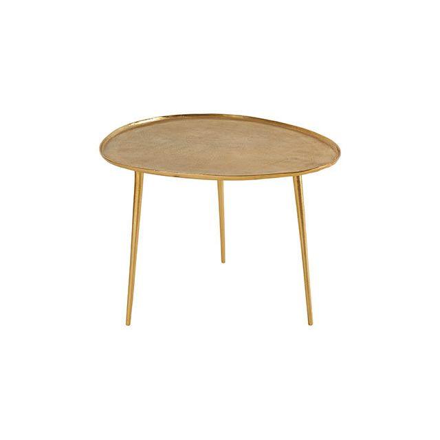 Table Basse Galet 72x63xH51cm en aluminium doré