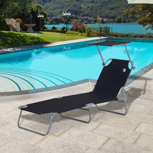 Outsunny transat bain de soleil pliable grand confort dossier et pare soleil réglable multi positions noir pas cher achat vente transats chaises