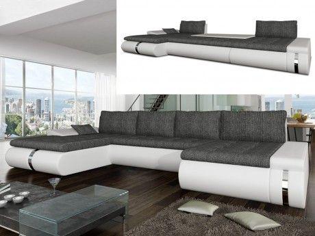 MARQUE GENERIQUE Canapé d'angle panoramique convertible et réversible en tissu et simili AZELMA - Blanc et gris