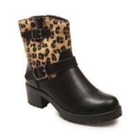 Lamodeuse - Bottines simili cuir léopard deux brides noir