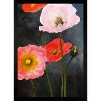 G&C Interiors - Cadre décoratif coquelicots roses et rouges en bois Mdf et verre Poppies
