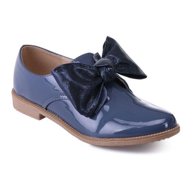 b00270b5898ee Lamodeuse - Derbies bleus vernis à noeud brillant et strass - pas ...