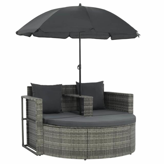 Icaverne - Canapés d'extérieur famille Canapé d'extérieur à 2 places avec parasol Résine tressée Gris