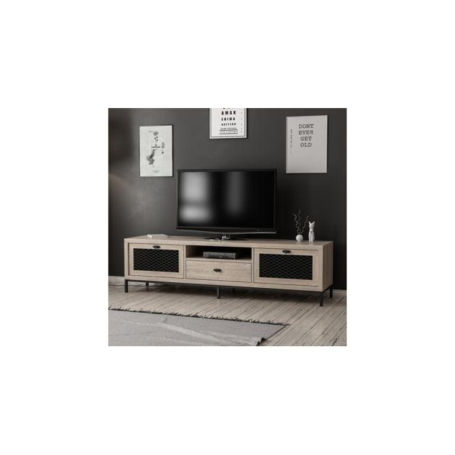 Homemania Meuble Tv Zeus Moderne - avec Portes, Étagères, Tiroir - pour Salon - Noir en Bois, 180 x 35 x 49 cm